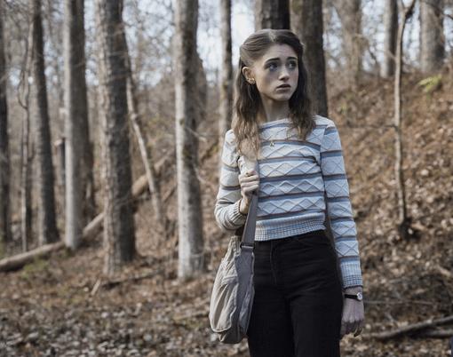 Nancy Stranger Things style - photo of Nancy wearing a striped sweater in season 1