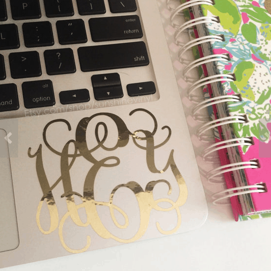 Monogram sticker for your laptop