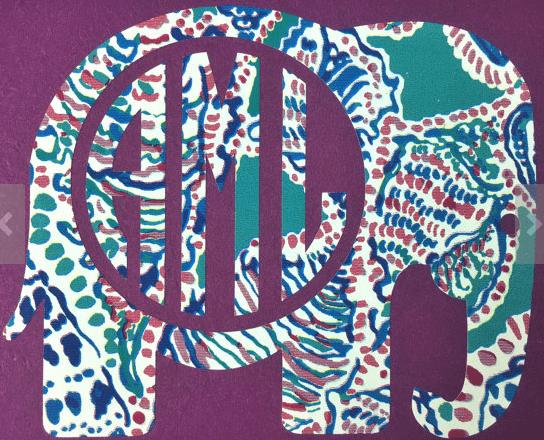 Elephant monogram sticker