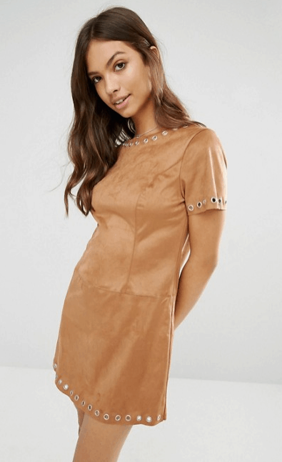 Brown suede dress with grommet details from ASOS