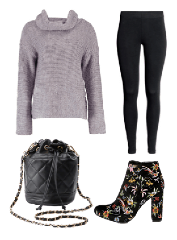 Cute night out outfit: Lavender sweater, black leggings, floral ankle booties, quilted bucket bag