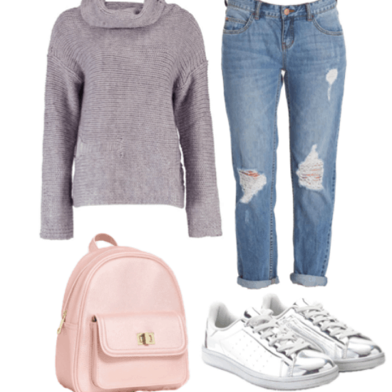 Outfit idea for class: Lavender cowl neck sweater, boyfriend jeans, light pink mini backpack, silver sneakers