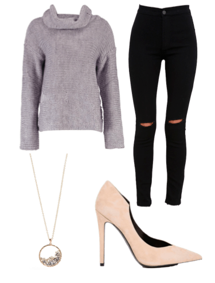 Cute night out outfit: Lavender cowl neck sweater, black ripped jeans, nude suede heels