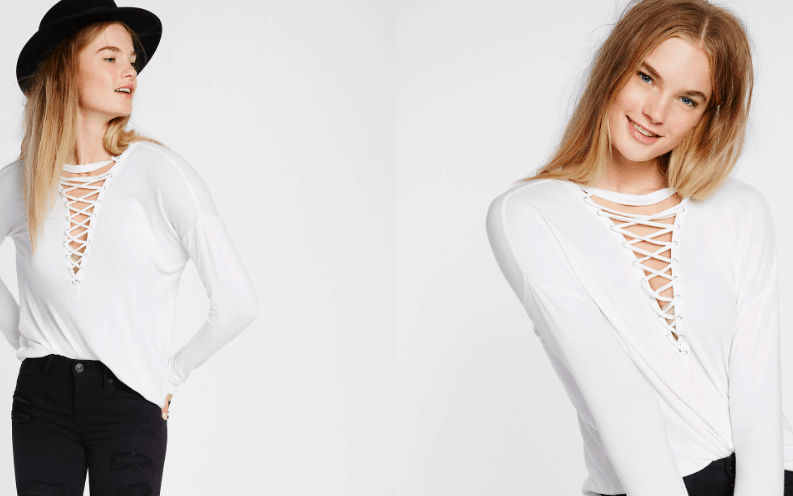 White lace up top from Express