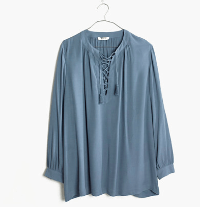 Blue lace-up peasant top from Madewell