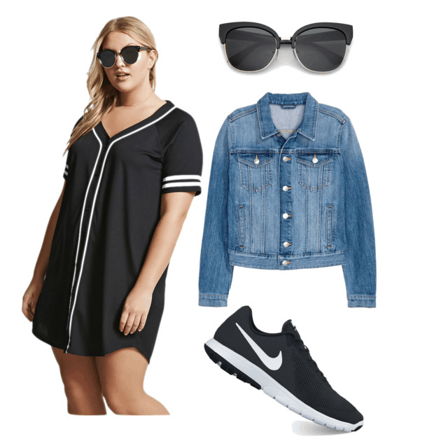women in dress with jacket sneakers and sunglasses