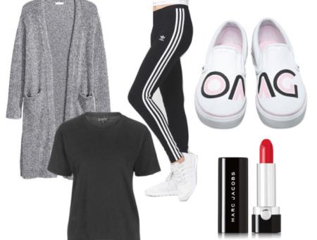 photoset of shirt, sweater, sneakers, lipstick
