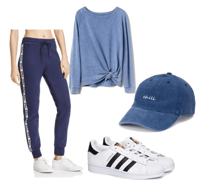 photoset of sweatpants, sneakers, cap, sweater