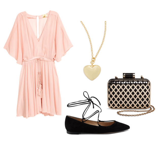 pink dress with shoes and accessories