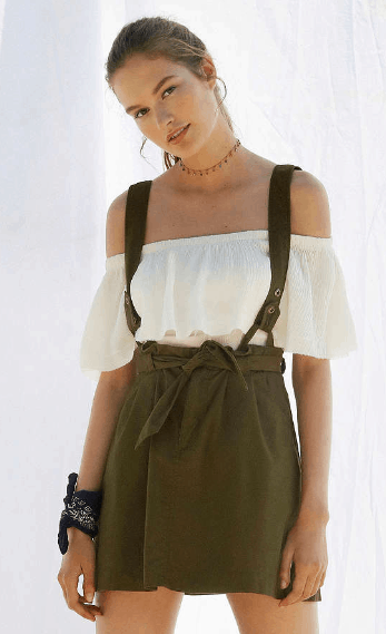 Urban Outfitters skirt with suspenders in olive