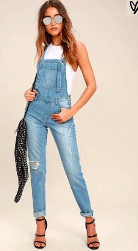 Skinny jean overalls in light wash