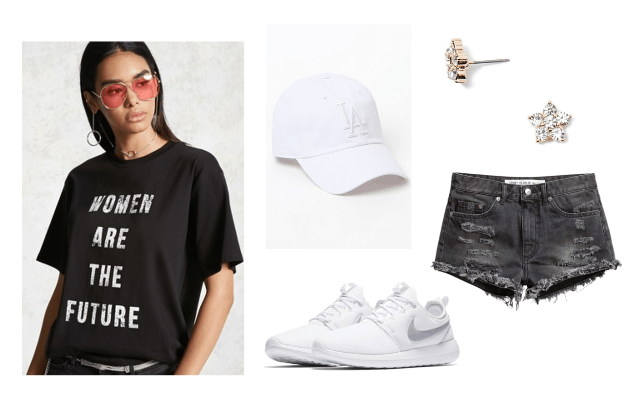 Outfit inspired by Seventeen's Don't Wanna Cry music video: Kpop fashion inspiration. Black graphic tee that reads