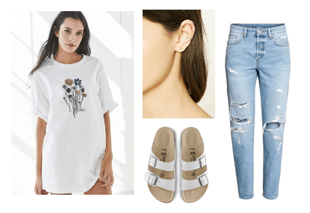Outfit inspired by Seventeen's Don't Wanna Cry music video: Kpop fashion inspiration. Oversized white tee shirt with flower bouquet graphic, white Birkenstock Arizona sandals, ripped mom jeans, ear jacket