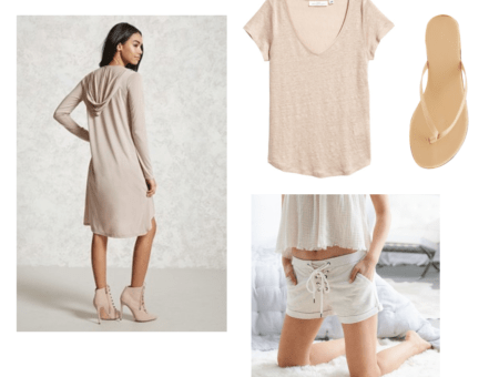Outfit inspired by Seventeen's Don't Wanna Cry music video: Kpop fashion inspiration. Neutral outfit including beige lace-up shorts, flip flops, beige tee shirt, beige knee length hooded cardigan