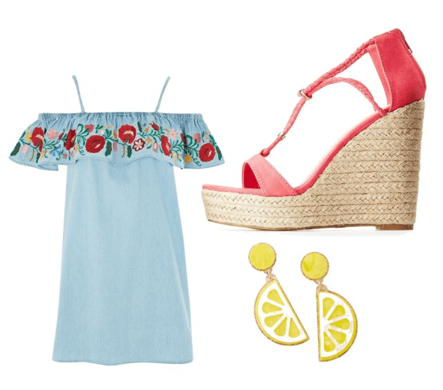 Best shoes for summer: Espadrille wedges are the best shoes for brunch. Outfit idea: Blue dress with coral wedges and lemon earrings