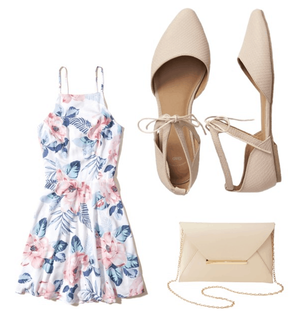 Best shoes for summer: Nude flats look great with a floral dress and a beige purse for a dinner date in summer