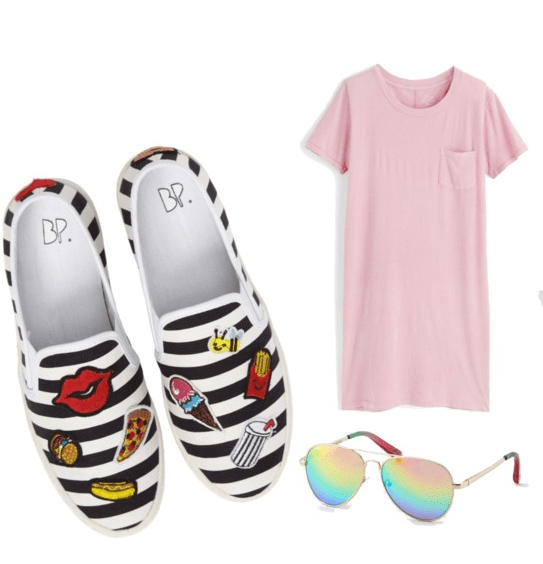 Best shoes for summer: Slip on sneakers are the best for summer days, wear these striped sneakers with patches with a pink tee shirt dress and rainbow sunglasses