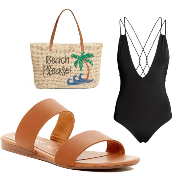 Best shoes for summer: Slip on brown sandals with black swimsuit and printed Beach Please tote