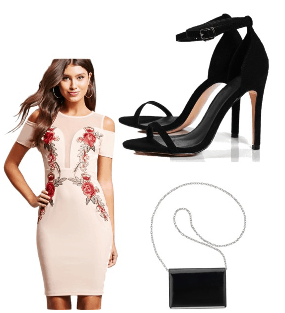 Best shoes for summer: Black strappy stiletto heels look great with a printed dress and black purse for a night out