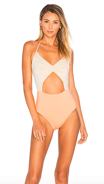 Beige and nude monokini with a cutout front