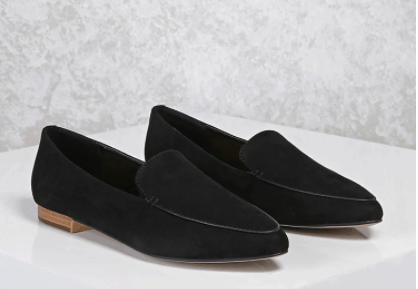 Black faux suede loafers from Forever 21