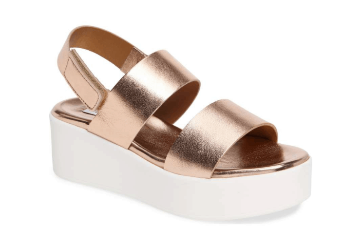 rose gold and white platform shoes