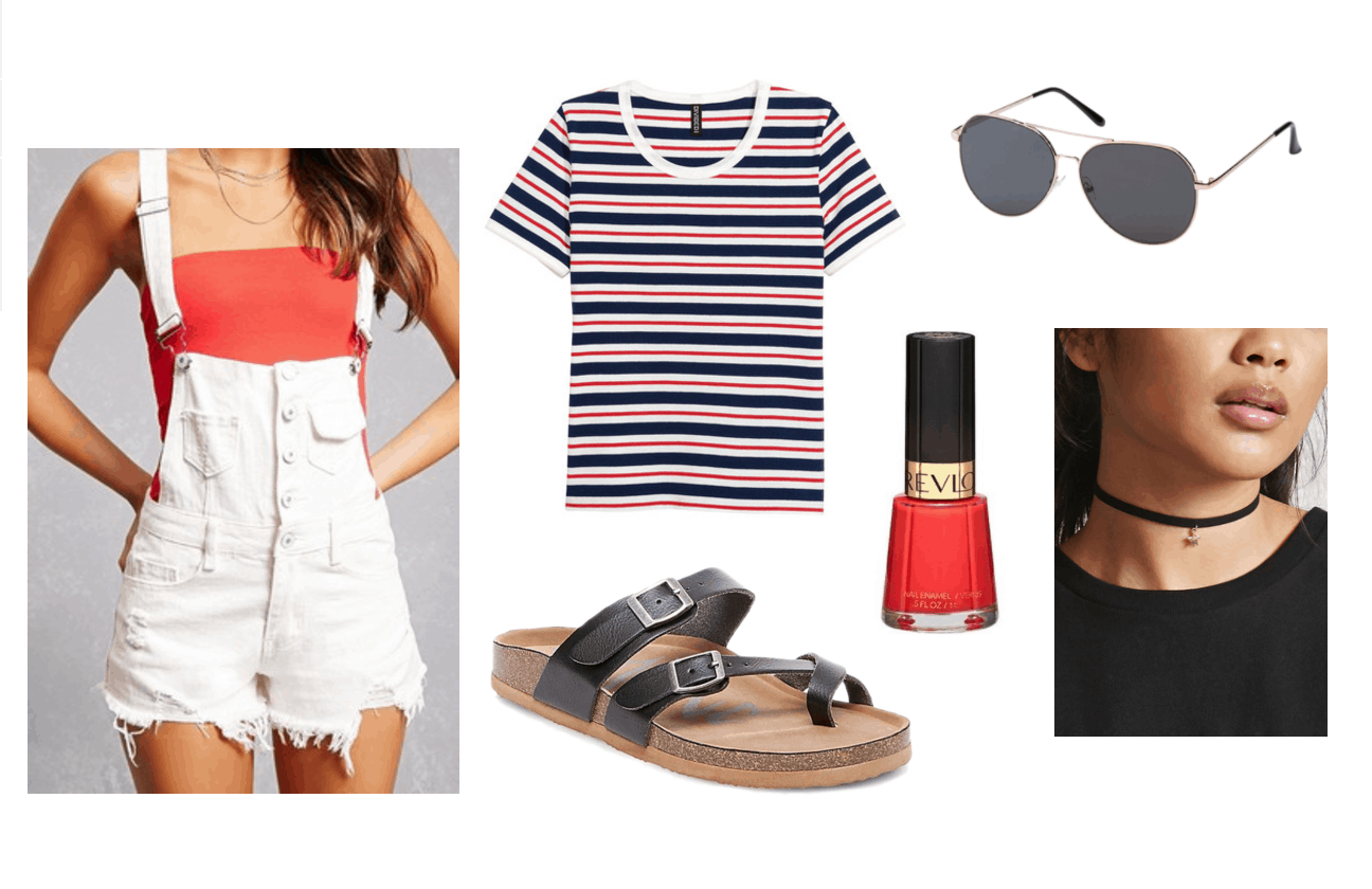 Cute 4th of July Outfit Ideas: White overalls, red white and blue striped shirt, black birkenstock sandals, red nail polish, choker, sunglasses