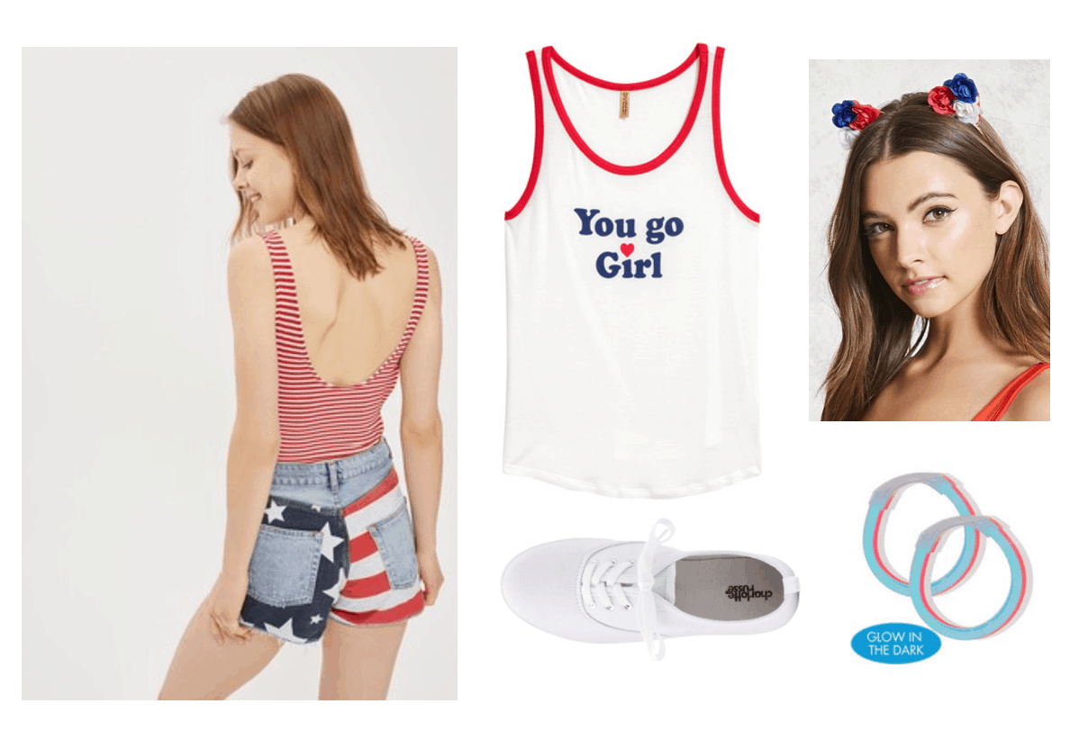 Cute 4th of July outfits: Red white and blue tank, american flag shorts, red white and blue headband, glow in the dark bracelets, white sneakers