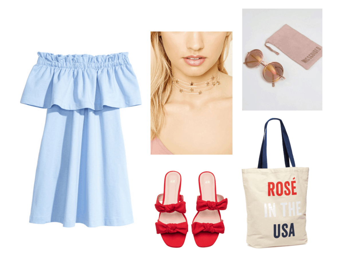 Cute 4th of July outfits: Off the shoulder blue dress, star choker, round sunglasses, Rose in the USA tote bag, red sandals