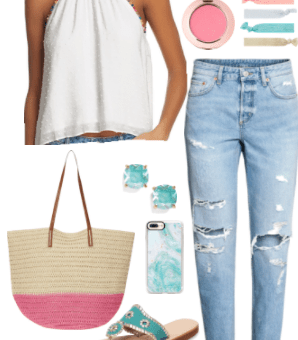 Pom pom top outfits: How to style a pom pom top during the day -- white pom pom top with rainbow trim with mom jeans, blue stud earrings, woven pink tote, pastel accessories, jacks sandals