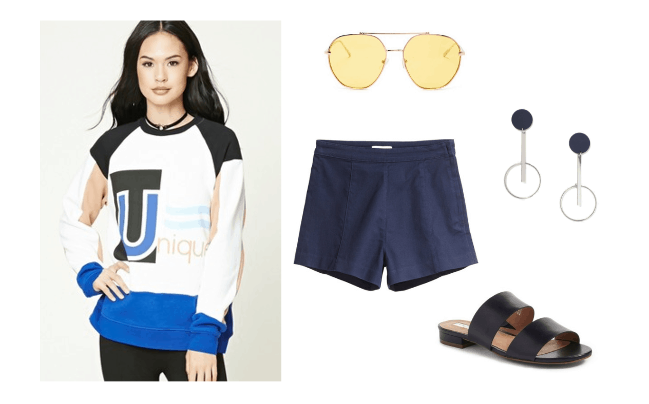 Cute outfit idea: Graphic long sleeve tee shirt, navy short shorts, clear yellow aviators, wide strap black sandals. K-pop fashion inspired by Mamamoo yes I am