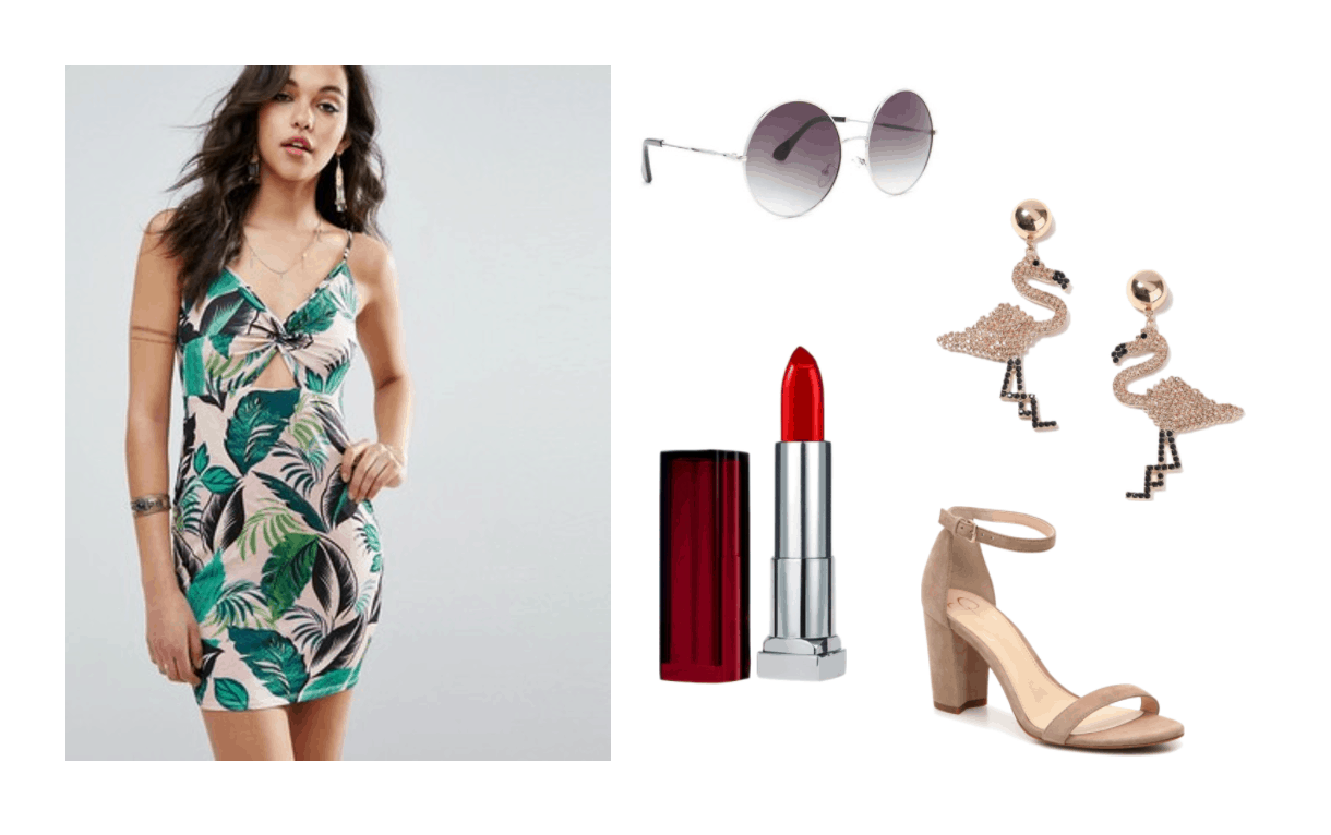 Cute summer outfit idea: Palm tree print dress in green and pink, round sunglasses, red lipstick, nude high heels, flamingo earrings. K-pop fashion inspired by MAMAMOO Yes I Am video.