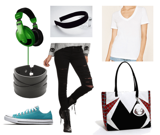 Gwen Stacy style: Outfit inspired by Spider-Gwen and Gwen Stacy with ripped black jeans, white v-neck tee shirt, blue converse, green headphones, and Spider Man accessories