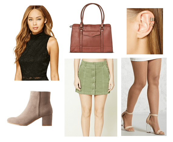 Spider man Mary Jane style: Outfit inspired by Mary-Jane from Spiderman featuring green button-front skirt, high neck tank, brown handbag, nude heels, cuff earrings
