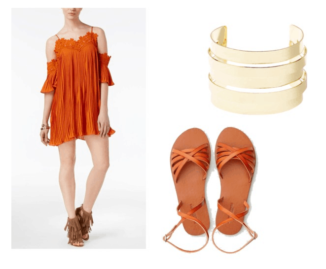 Proenza Schouler Spring 2018 look for less: Orange dress, orange sandals, chunky gold cuff bracelet