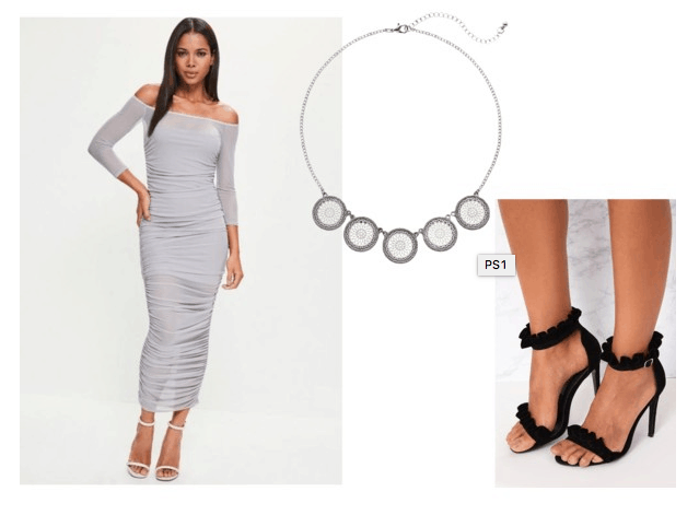Proenza Schouler Spring 2018 look for less: Gray off-the-shoulder maxi dress, circle statement necklace, black ruffle strappy heels