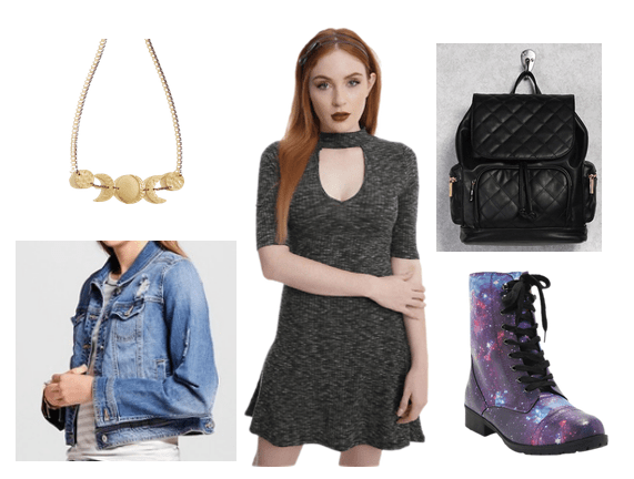 Futuristic outfit idea inspired by the book Cinder, a new age fairy tale with a dystopian plot. Outfit idea with dark gray choker neck mini dress with 3/4 sleeves, black quilted backpack, galaxy print lace up boots, denim jacket, gold planetary necklace