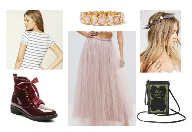 Outfit inspired by Anne with an E: Striped tee shirt, tulle skirt in pink, flower crown, jeweled bracelet, shiny burgundy combat boots, book purse