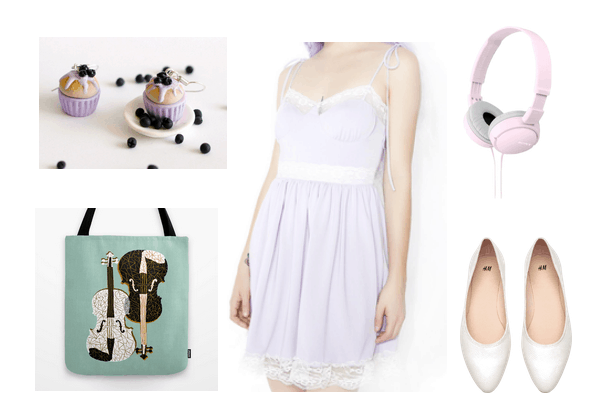 Pretty pastel outfit idea inspired by Your Lie in April - includes lavender spaghetti strap dress, white flats, music bag, pink headphones
