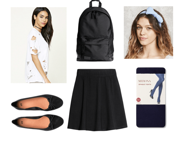 Fashion inspired by the book Battle Royale: Outfit inspired by the novel including schoolgirl vibes with an edge. Mix a black circle skirt with a ripped white tee shirt, black tights, ballet flats, a black backpack and a baby blue hair bow