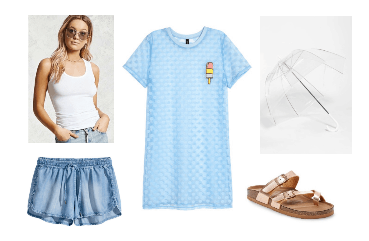 What to wear on a rainy day in summer: Rainy day outfit idea with blue oversized tee shirt with popsicle graphic, white tank top, chambray shorts, rose gold footbed sandals, clear umbrella