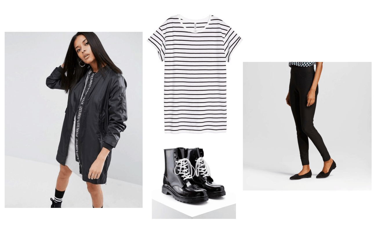 What to wear on a rainy day in summer: Rainy day outfit idea with striped black and white tee shirt, black leggings, black edgy rain jacket, waterproof lace-up boots in black