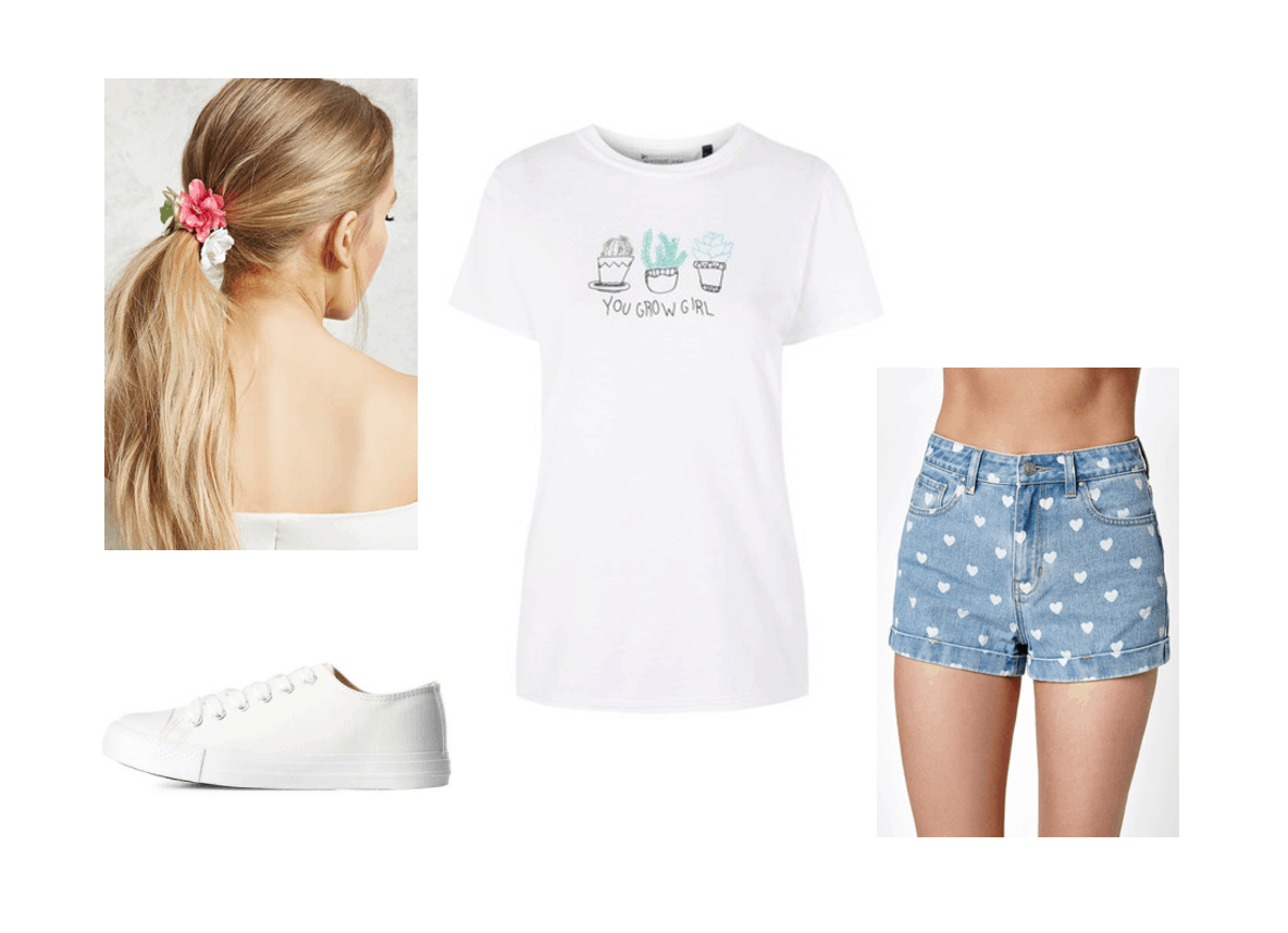 What to wear on a rainy day in summer: Rainy day outfit idea with printed denim shorts with white hearts, tee shirt with a You Grow Girl graphic, floral ponytail holder, white sneakers