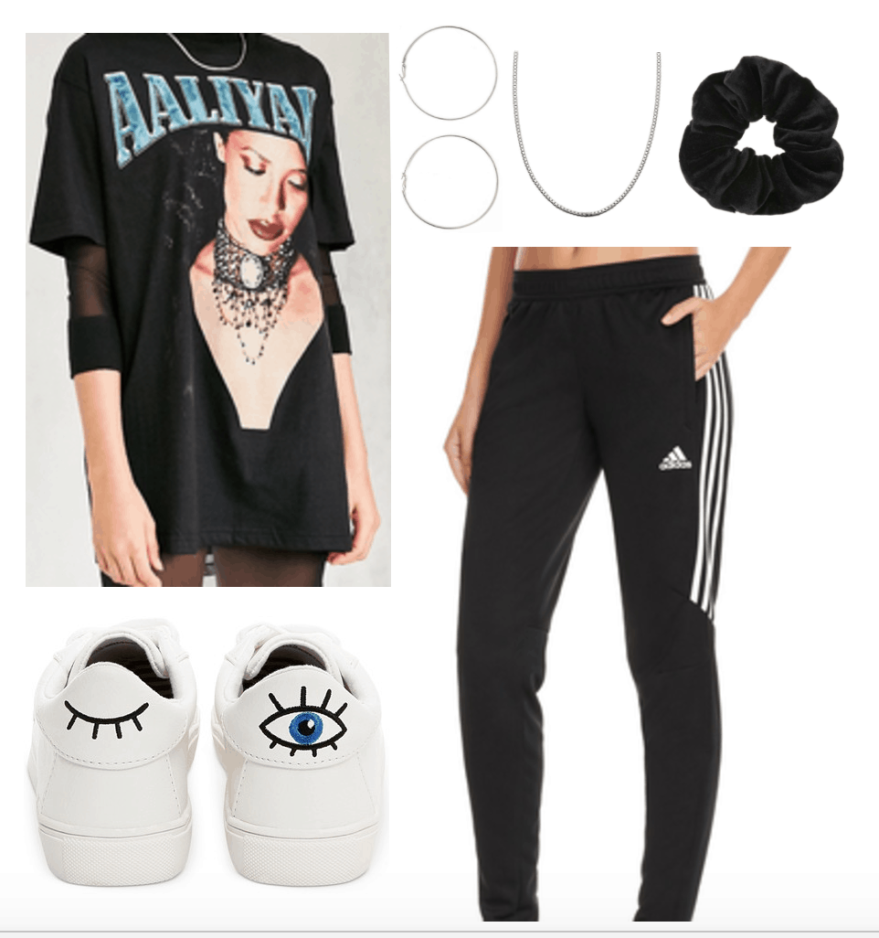 How to style a vintage tee shirt: outfit 1 with Aaliyah tee shirt, Adidas stripe pants, sneakers, black scrunchie