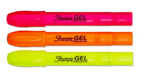 Best highlighters for pretty class notes: Sharpie gel highlighters in pink, orange, and yellow