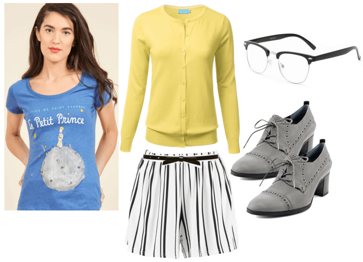 Vintage Tee Outfit 2: The Little Prince tee shirt in blue, yellow cardigan, black and white stripe shorts, glasses, gray high heel oxfords