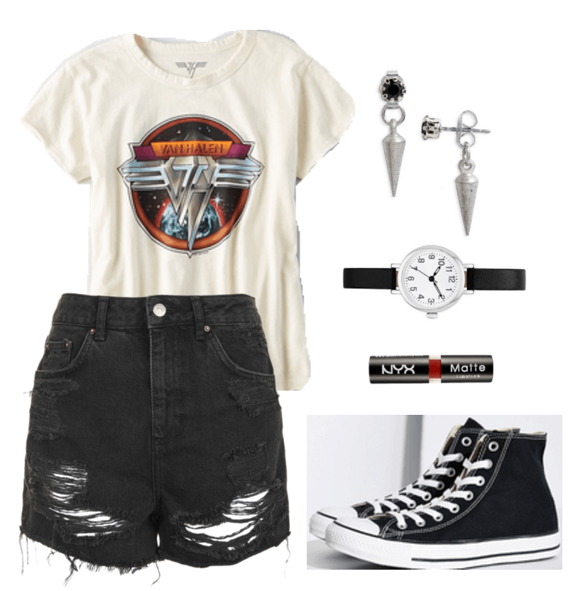 How to Style a Vintage Tee: Ripped black denim shorts, Van Halen band tee shirt, spike earrings, black Converse sneakers
