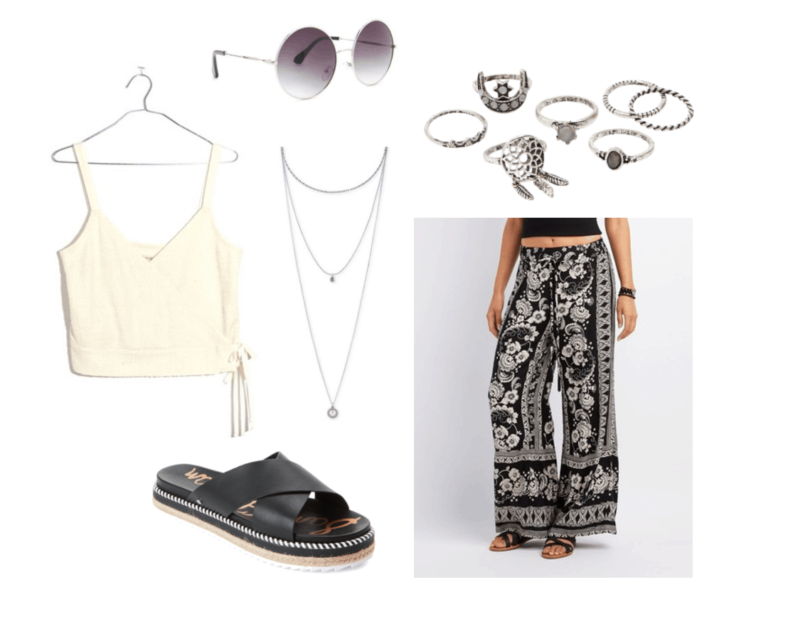 Girls Generation Party Music Video fashion - Summer outfit inspired by the music video with patterned pants, black sandals, tie front crop top, layered necklaces, silver rings, and round sunglasses