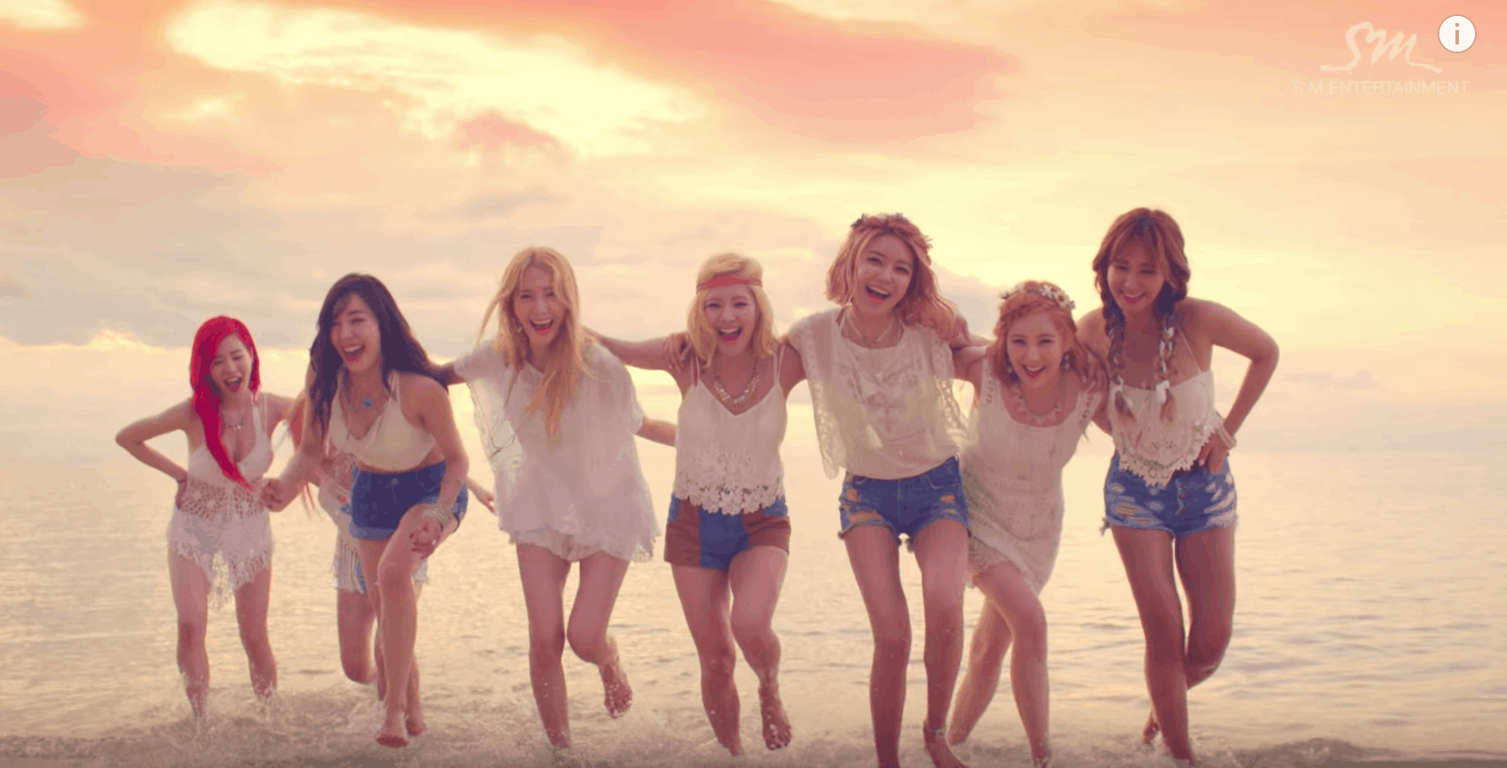 Girls Generation Party Music Video - a picture of the girls wearing shorts and white tops at the beach