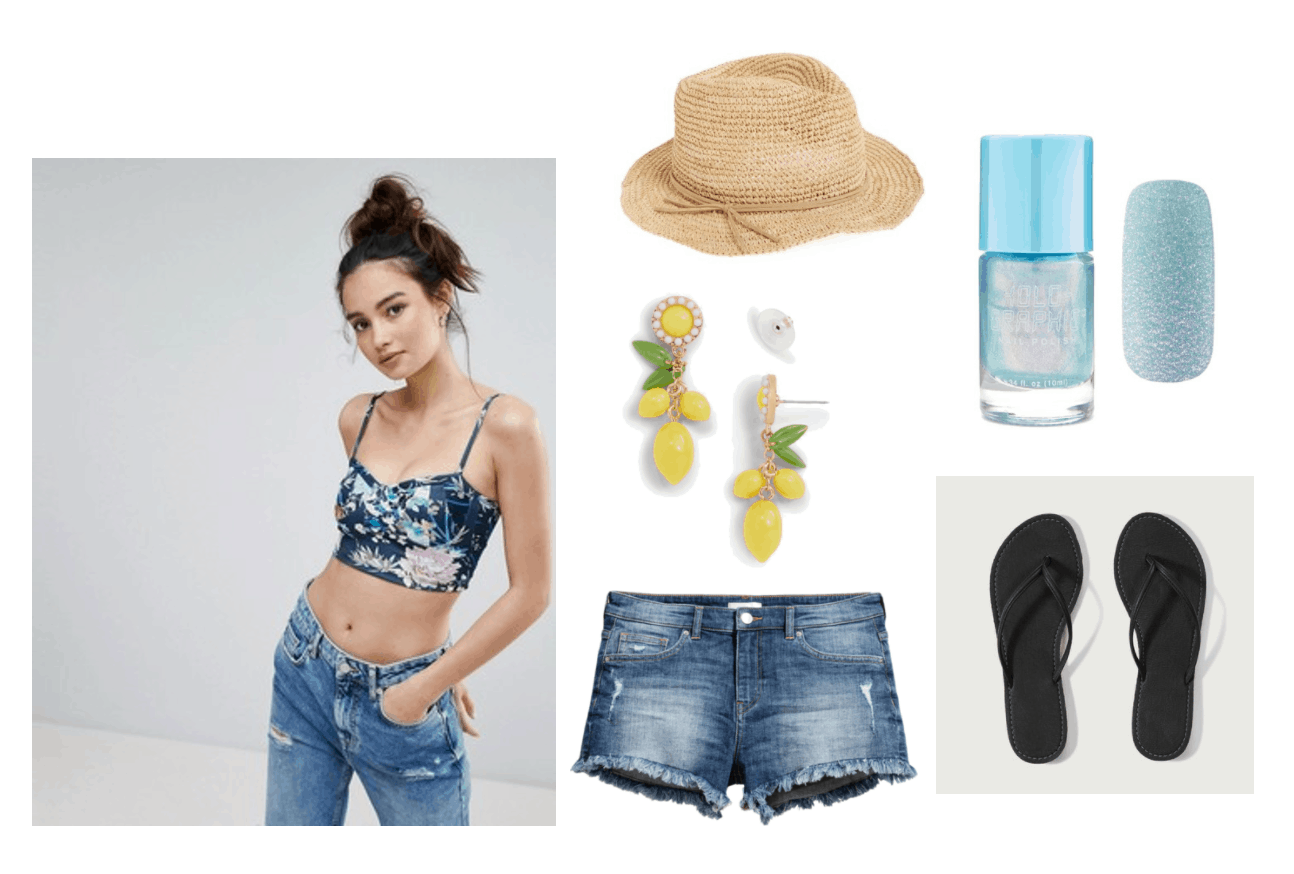 Girls Generation Party video fashion: Summer outfit idea with cutoff jean shorts, black flip flops, floral crop top, lemon earrings, straw fedora, metallic blue nail polish